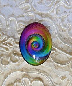 Color Swirl 30X40mm Glitter Unset Handmade Glass Art Bubble Cameo Cabochon