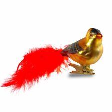 Christbaumschmuck Lauscha Glasvogel rot weiß mit Federn 4Stück mundgeblasen