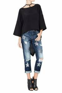"""SASS & BIDE """"Delicious Solitude"""" Sequinned Star Print Distressed Jeans - Size 26"""