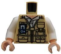 Lego Torso Weste beige weiss Vet Jurassic World Dinosaurier 973pb2067c01 Neu