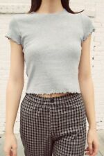 Brandy Melville soft heather gray crop cotton ruffle trim lizzy top NWT sz S