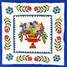 Hand applique Floral Fruit Basket Wall Quilt Top - Beautiful small details