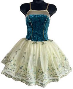 Child Medium Teal Ballet Costume Curtain Call CM Ivory Long Tutu Velvet Dance