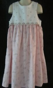 Gymboree Sleeveless Pink and White Dress with Flowers Size 6