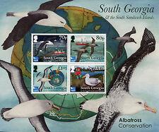 South Georgia & Sandwich Isl Birds Stamps 2017 MNH Albatross Consrv RSPB 4v M/S
