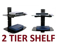 2 LAYER SHELF STAND HD TV MOUNT PS4 XBOX BLU-RAY LED VERIZON COMCAST CABLE BOX