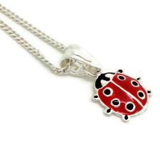 """Childs enamel Ladybird pendant Sterling Silver 14"""" chain, Gift Pouch. New."""