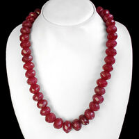 BREATHTAKING QUALITY 728.00 CTS NATURAL FACETED RED RUBY BEADS NECKLACE STRAND