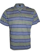 Men's Striped T-shirts Loose Fit Pique Polo Polycotton 1904 Casual Tops M to 5xl Grey XL