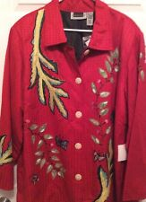 Maggie Barnes Jacket/Blazer 3X Red Embroidered Leaves New