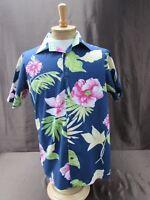 Tommy Hilfiger men's size L Large floral Hawaiian shirt blue short sleeve button