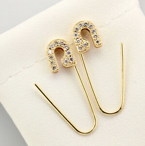 14k Yellow Gold pave set Diamond's Safety Pin Earring's(Pair) 1''long 0.25ctw