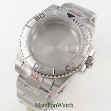 40mm Watch Case Strap Fit For NH35 Miyota 8215 ETA2836 Sapphire Glass 904L Steel