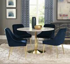 Modern Dining Room Kitchen 5 piece Round Marble Top Table & Blue Chairs Set IC7R