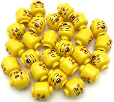 Lego New Yellow Minifigure Heads Dual Sided Female Rosy Cheeks Brown Eyebrows