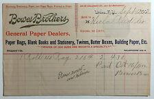 Antique Billhead, Bowes Brothers General Paper Dealers, Utica, New York, 1902