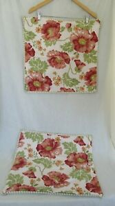 2 Pottery Barn 20 x 20 Pillow Shams Red Orange Green Floral Stripe Linen Cotton