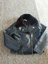 Girls Age 7-8 Years M&S  Faux Leather Biker Jacket With Detachable Faux Fur...