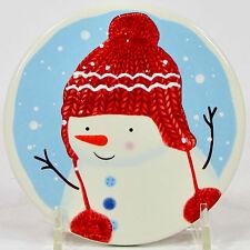 """St. Nicholas Square LET IT SNOW 4.25"""" Individual Coaster Snowman Daughter Blue"""