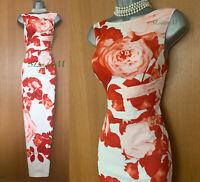 Karen Millen UK 10 Ivory Floral Wedding Prom Ballgown Maxi Long Pencil Dress 38