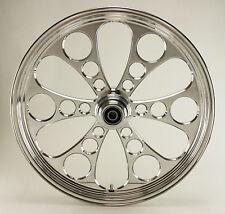 "Ultima Polished Kool Kat CNC 21"" x 3.5"" Front DD Wheel for Harley/Custom Models"