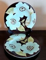 Laurie Gates Madison Salad Plates x2 Designed in Ca Chocolate Turquoise Flowers