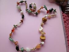 FAB VINTAGE FREEFORM NATURAL AGATE TUMBLED BEAD STONE NECKLACE 23 INCHES