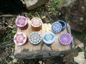 Chakra Soapstone Handcarved Box, Trinket Pot, 7 Colours to choose, Fair Trade