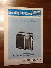 RADIO OPERATING INSTRUCTIONS __NATIONAL PANASONIC RF - 900A or B