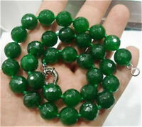 """10mm Faceted Emerald Gemstone Beads Necklace 18"""""""