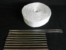 FIBREGLASS EXHAUST HEAT WRAP 50 FEET X 2 INCH WHITE  + 10 STAINLESS STEEL TIES