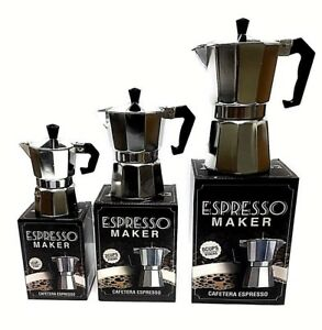 StoveTop Espresso Cuban Aluminum Coffee Cafetera Maker 1,3,6 Cups N Gasket Seals