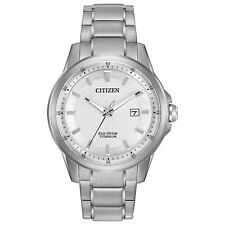 Citizen Eco-Drive Men's Super Titanium White Dial Bracelet Watch 42mm AW1490-50A