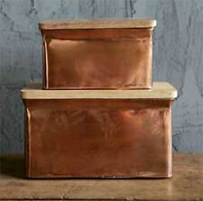 Aluminum Box with Wooden Lids, Set of Two
