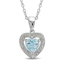 """Sterling Silver 1 Ct TGW Sky Blue Topaz and Diamond Heart Necklace Pendant 18"""""""