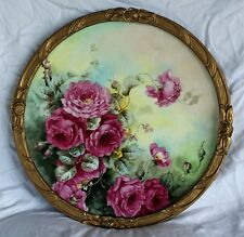 """RARE 18 """" JPL Limoges Porcelain Plaque with HAND PAINTED ROSES"""