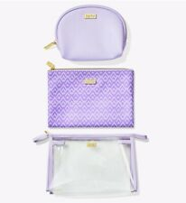 tarte Busy Gal Bag Set of 3 Zippered Purple Transparent Make Up Cosmetic Bags