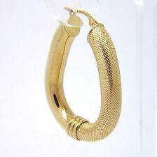 9ct Yellow Gold Fancy Hoop Earrings - 40 x 30mm