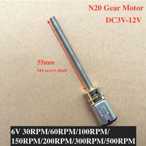 DC 3V-12V N20 5V 6V Mini Full Metal Gear Motor Reducer 55mm Long M4 Screw Shaft