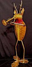 """Primitive Folk Art Gold Metal Reindeer 29"""" Tall musician"""