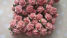 Peach Pink Mulberry Paper Roses, 15mm, Shabby Chic, Wedding, Craft Embellishment