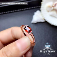 Natural Garnet 18K Rose Gold Plated Solid 925 Sterling Silver Adjustable Ring