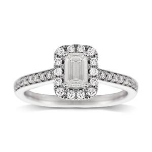 2.00 Cts SI1 D Emerald Vintage Floating Diamond Halo Engagement Ring Platinum