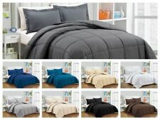 3 PC Comforter Set+Fitted Sheet 300 GSM 1000 TC Egyptian Cotton US Sizes & Solid