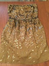 Woman's BCBG Max Azria Atalaya Silk & Sequin Olive Green & Bronze Party Dress XS
