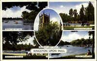 England Postcard Kingston-upon-Hull Multi-View Postkarte mit Nachgebühr Stempel