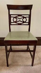 Vintage Mid Century Norquist Coronet Light Green Folding Chairs.