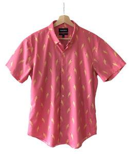 Bonobos Mens Shirt Parrot Bird Short Sleeve Pink Yellow Size Large Slim Fit