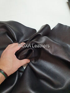 Natural Lambskin Leather Skins Sheep Lamb Nappa 6 Sqft Solid Black Leather Skins