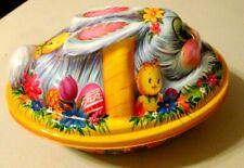 Vintage Easter Rabbit Basket Container-Plastic, Spring Bunny, Chicks, Flowers